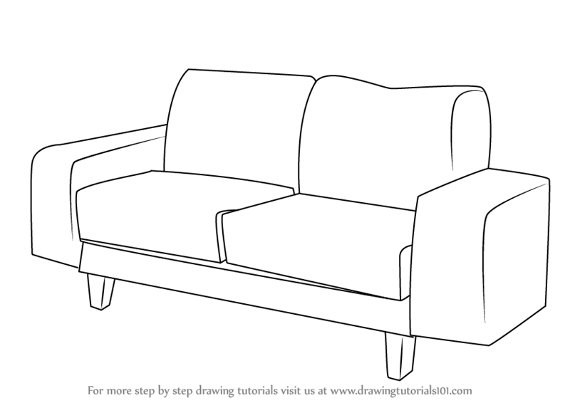Learn How To Draw A Couch Furniture Step By Step