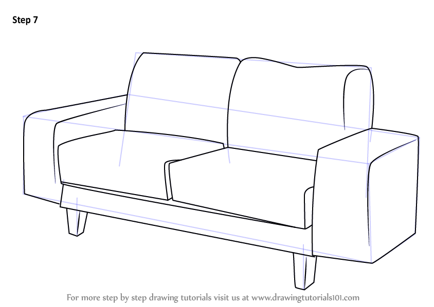 Learn How to Draw a Couch (Furniture) Step by Step : Drawing Tutorials