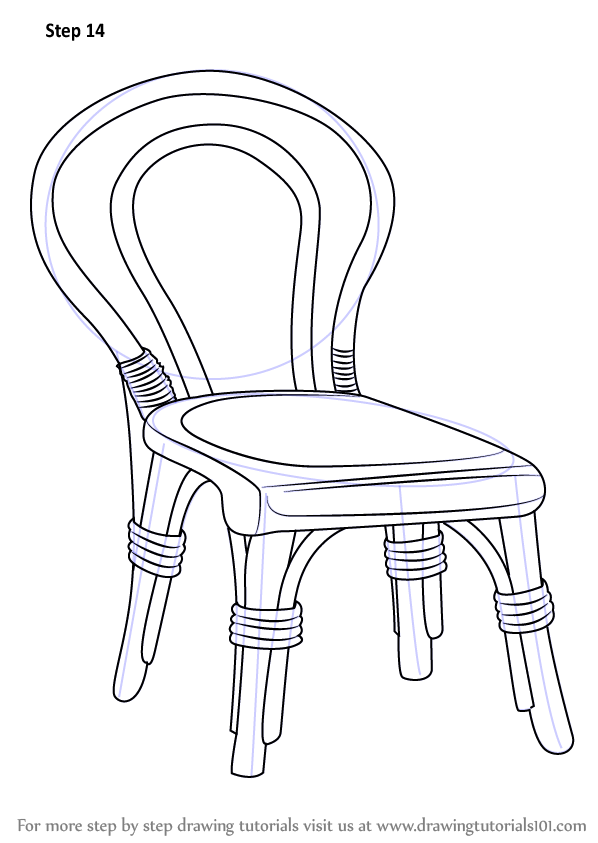 Learn how to draw a decorative chair furniture step by step