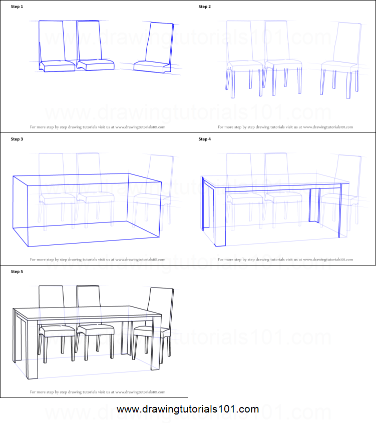 How To Draw Dining Table With Chairs Printable Step By
