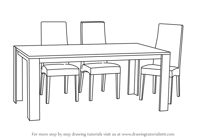 learn how to draw dining table with chairs (furniture) step