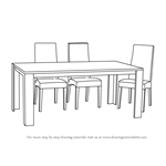 How to Draw Dining Table with Chairs