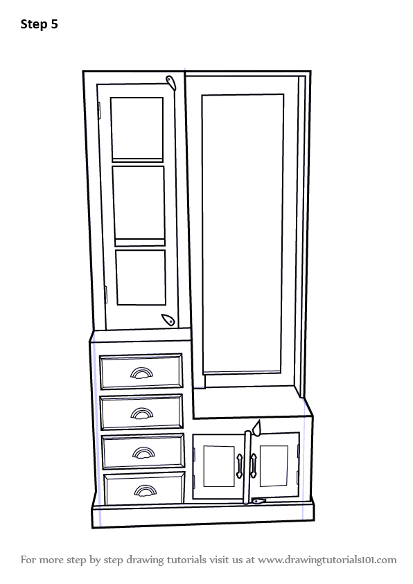 Learn How To Draw Dressing Table Furniture Step By Step