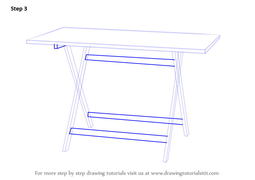 Learn How To Draw A Folding Table Furniture Step By Step