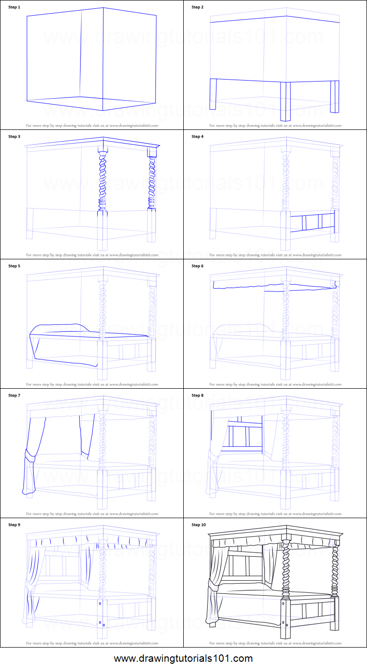 how to draw a four poster bed printable step by step