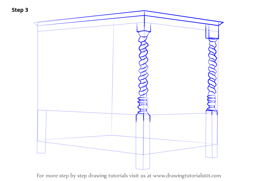 step by step drawing tutorial on how to draw a four poster bed