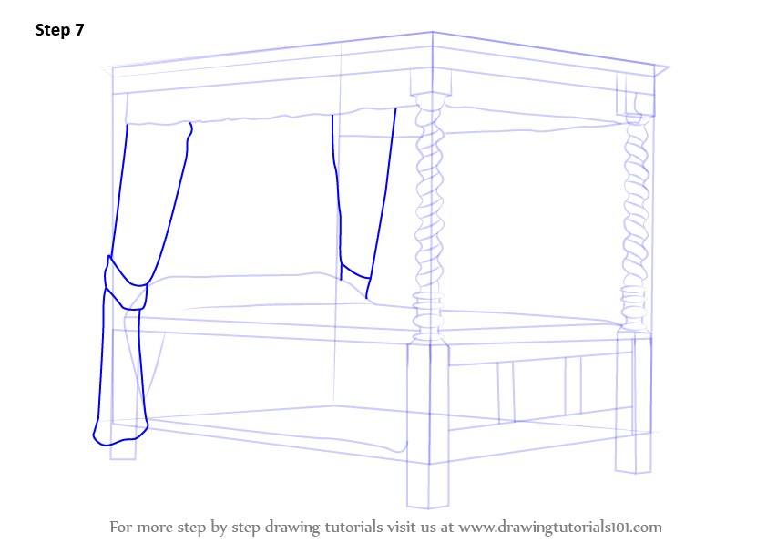 learn how to draw a four poster bed furniture step by
