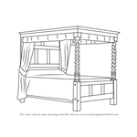 How to Draw a Four-poster bed