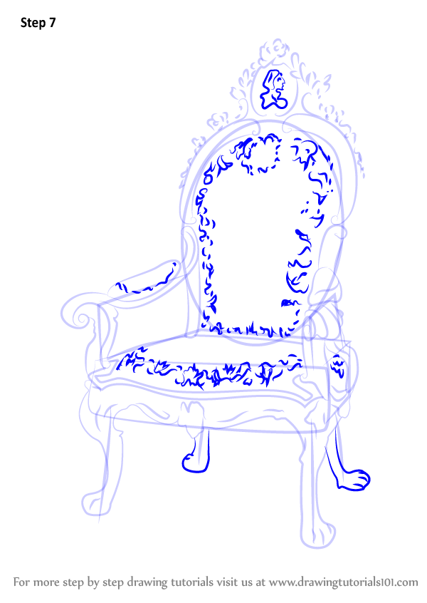 Learn How To Draw A King S Chair Furniture Step By Step