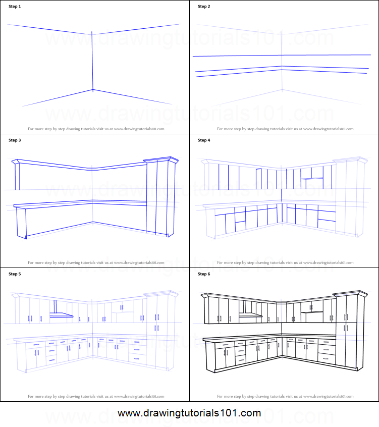 How to Draw Kitchen Cabinets printable step by step drawing sheet ...