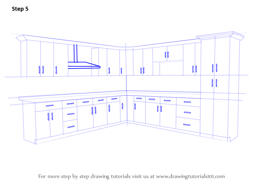 Learn How to Draw Kitchen Cabinets (Furniture) Step by Step ...