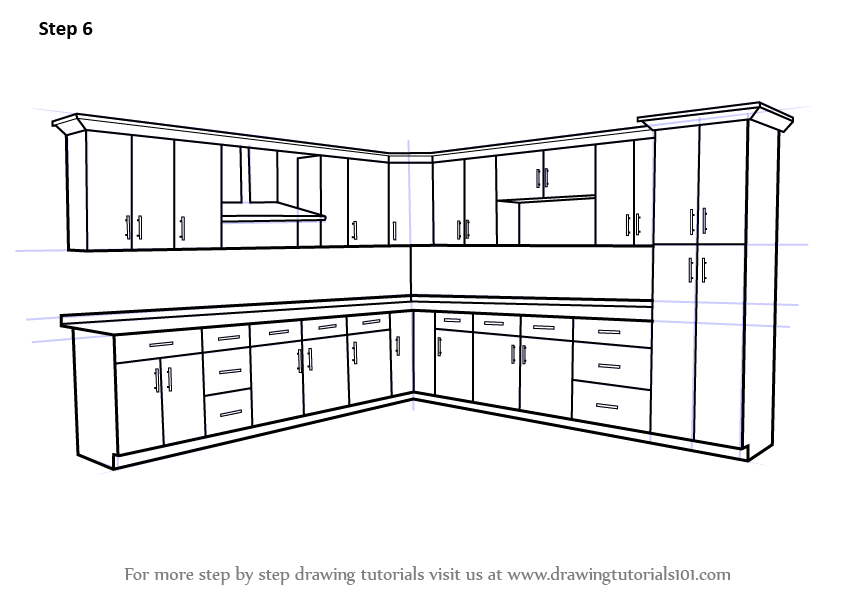 how-to-draw-a-kitchen-cabinets-step-6 Ash Kitchen Cabinets
