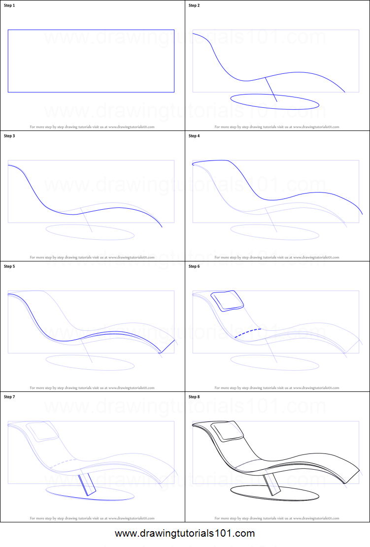 How to Draw a Lounge Chair printable step by step drawing  : How to Draw a Lounge Chair step by step from www.drawingtutorials101.com size 751 x 1111 png 117kB