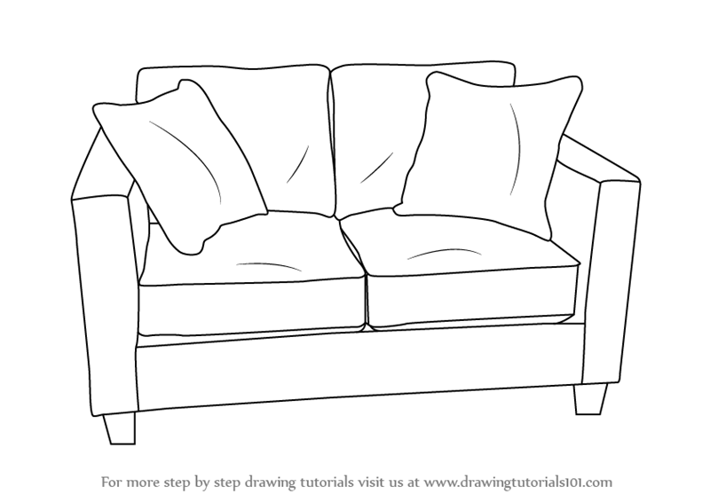 cartoon sofa chair. Learn How To Draw Love Seats (Sofa) (Furniture) Step By : Drawing Tutorials Cartoon Sofa Chair O