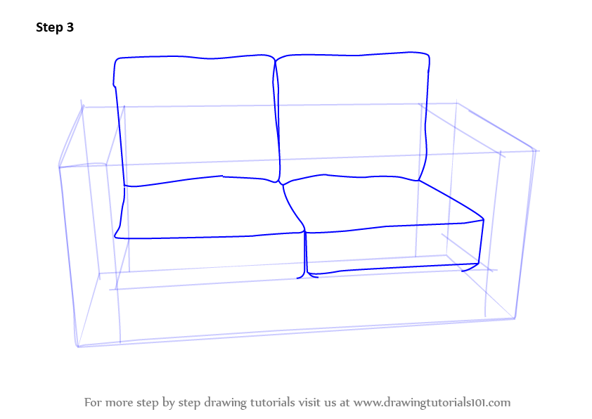 Learn How To Draw Love Seats Sofa Furniture Step By