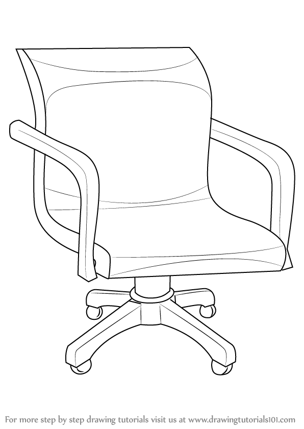 Learn How To Draw An Office Chair Furniture Step By Step