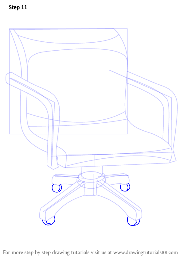 Learn How to Draw an Office Chair Furniture Step by Step  : how to draw Office Chair step 11 from www.drawingtutorials101.com size 596 x 841 png 41kB