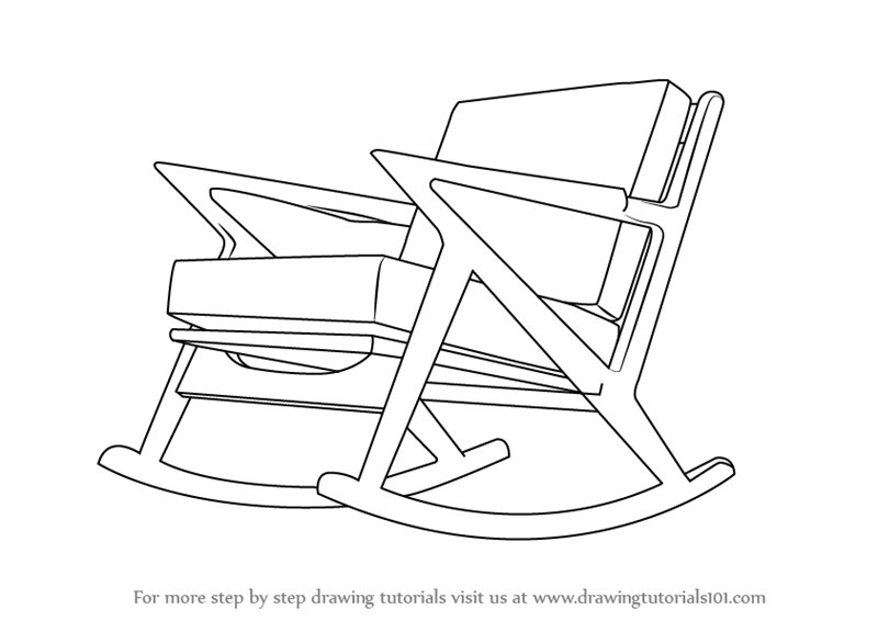 rocking chair drawing. Learn How To Draw Rocking Chair (Furniture) Step By : Drawing Tutorials
