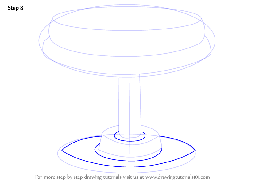 Learn How To Draw A Round Stool Furniture Step By Step
