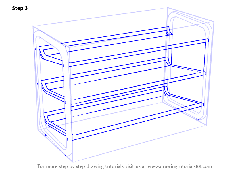 Learn How To Draw Shoe Rack Furniture Step By