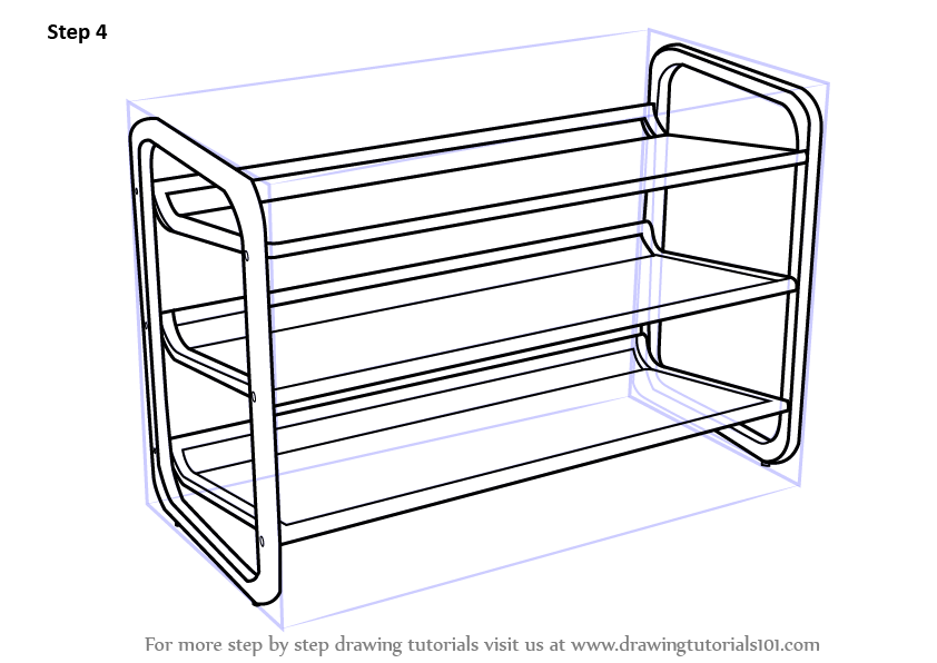 Learn How To Draw Shoe Rack Furniture Step By Step