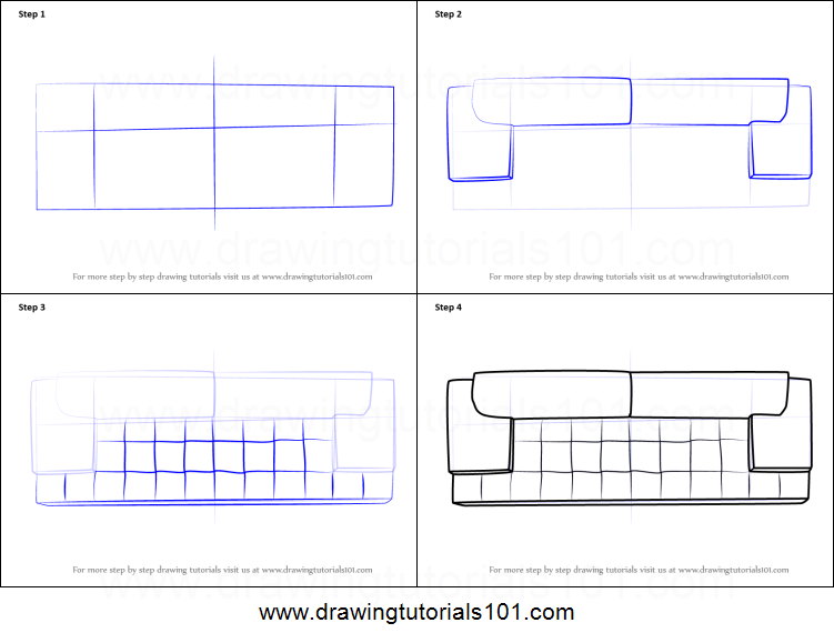 How to Draw Sofa Couch Top View printable step by step drawing sheet ...