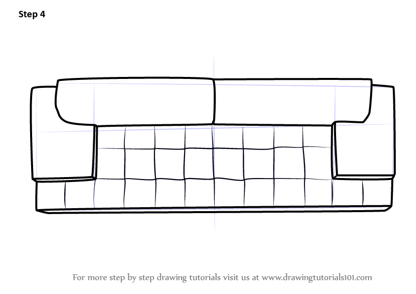 Learn How To Draw Sofa Couch Top View Furniture Step By