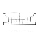 Step By Drawing Tutorial On How To Draw Sofa Couch Top View