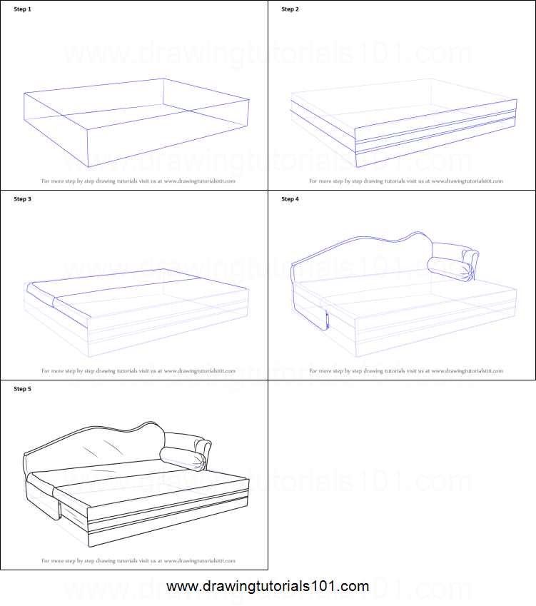 how to draw sofa cum bed printable step by step drawing sheet. Black Bedroom Furniture Sets. Home Design Ideas