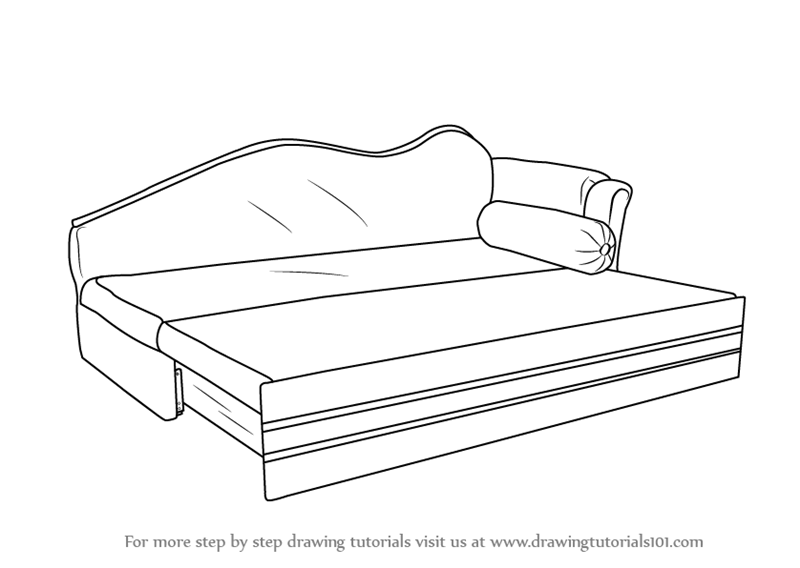 How To Draw Sofa Cum Bed
