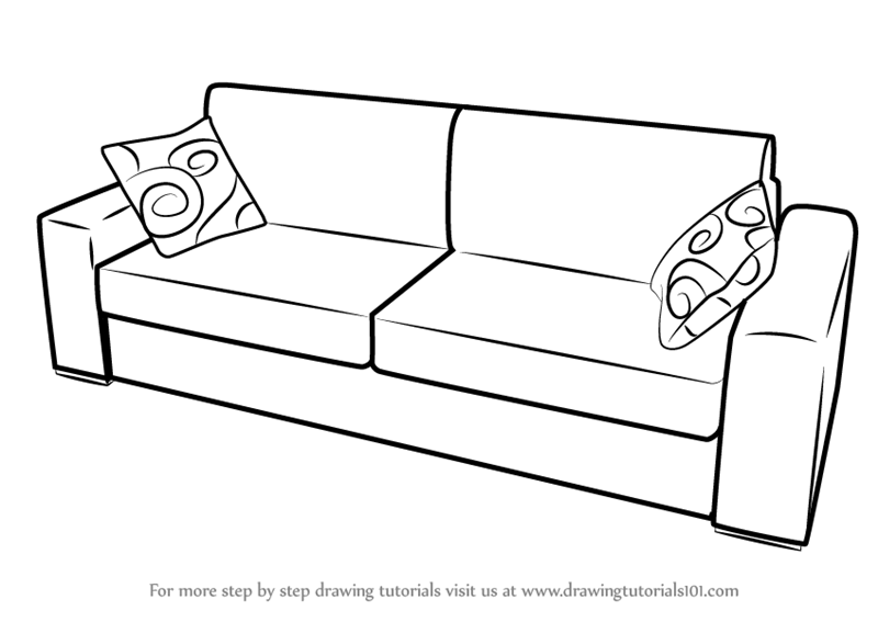 Fancy Couch Drawing Modren Learn How To Draw Sofa Intended