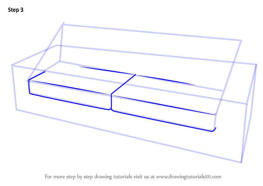 how to draw sofa step by step