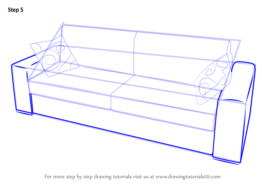 Learn How To Draw Sofa With Cushions Furniture Step By