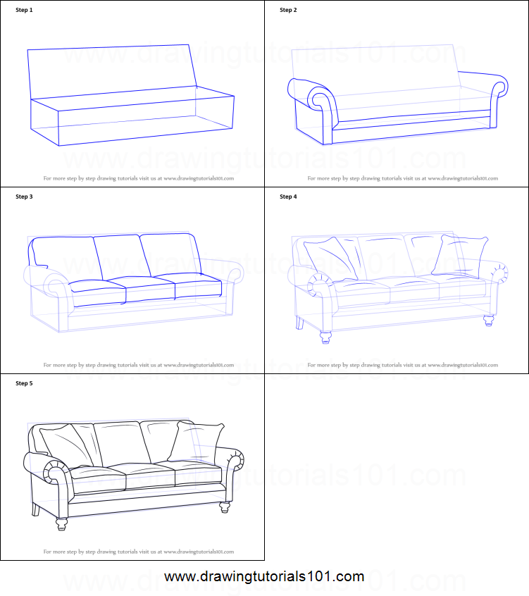 How To Draw Sofa Printable Step By Step Drawing Sheet