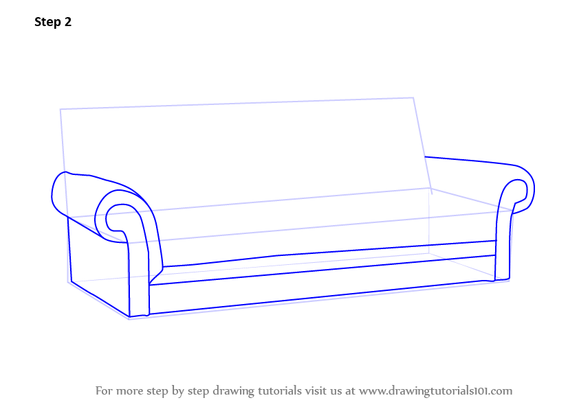 Learn How To Draw Sofa Furniture Step By Drawing Tutorials