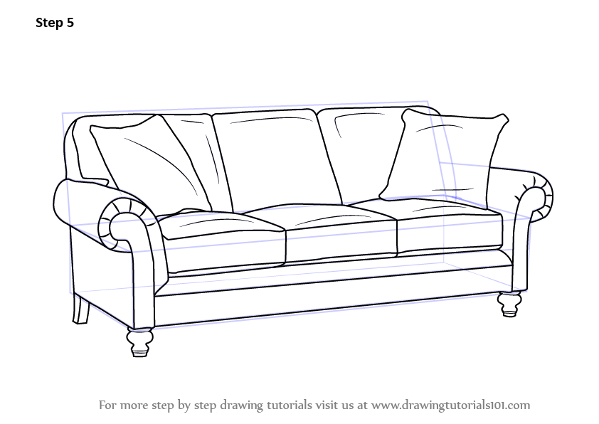 Lounge chair top view drawing - Learn How To Draw Sofa Furniture Step By Step Drawing