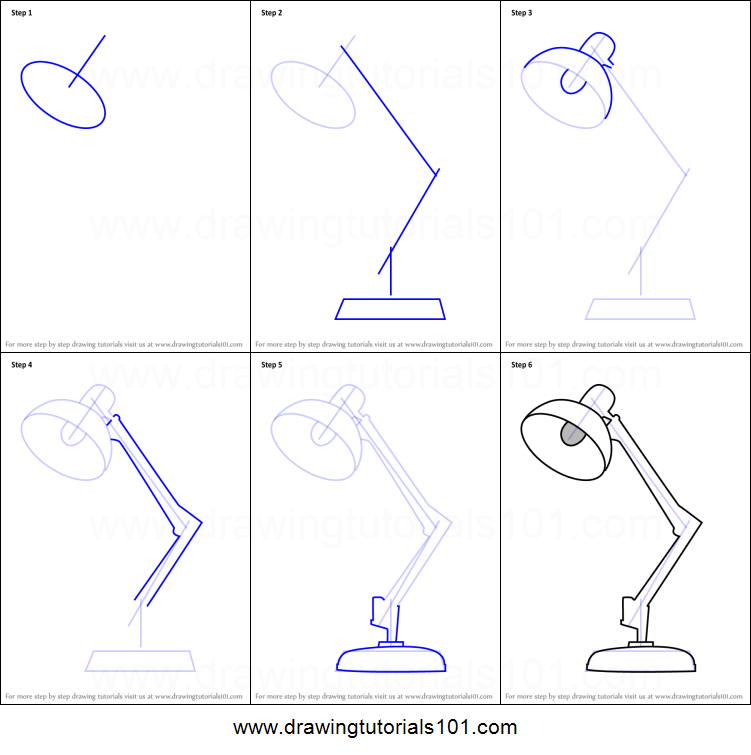 Table Lamp Drawing For Kids Step By Step