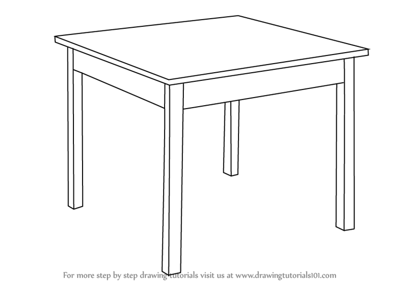 Learn how to draw a table furniture step by step for Table design sketch