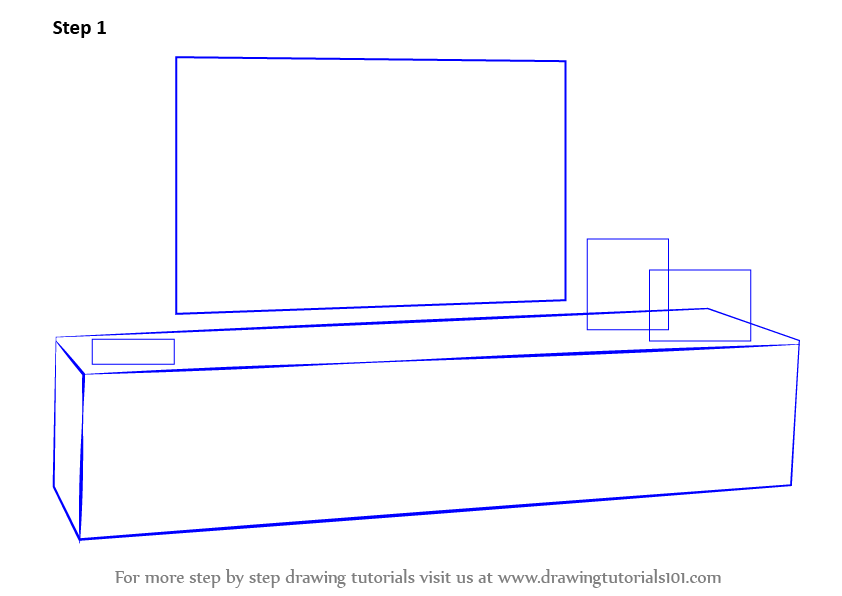 Learn How to Draw TV Unit (Furniture) Step by Step : Drawing