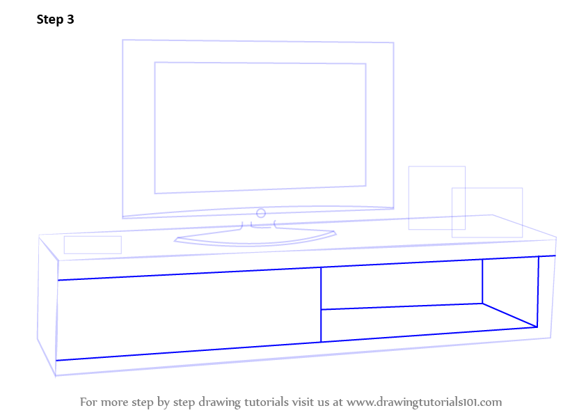 Learn How To Draw Tv Unit Furniture Step By Step