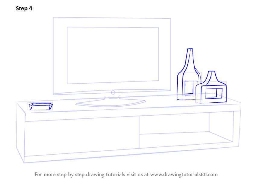 Learn How To Draw TV Unit Furniture Step By Drawing Tutorials