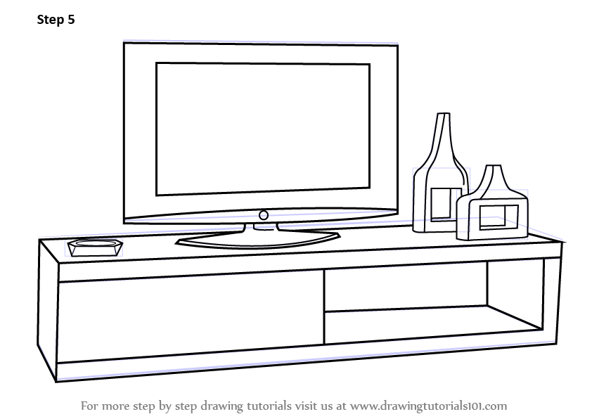 Learn How to Draw TV Unit (Furniture) Step by Step : Drawing Tutorials