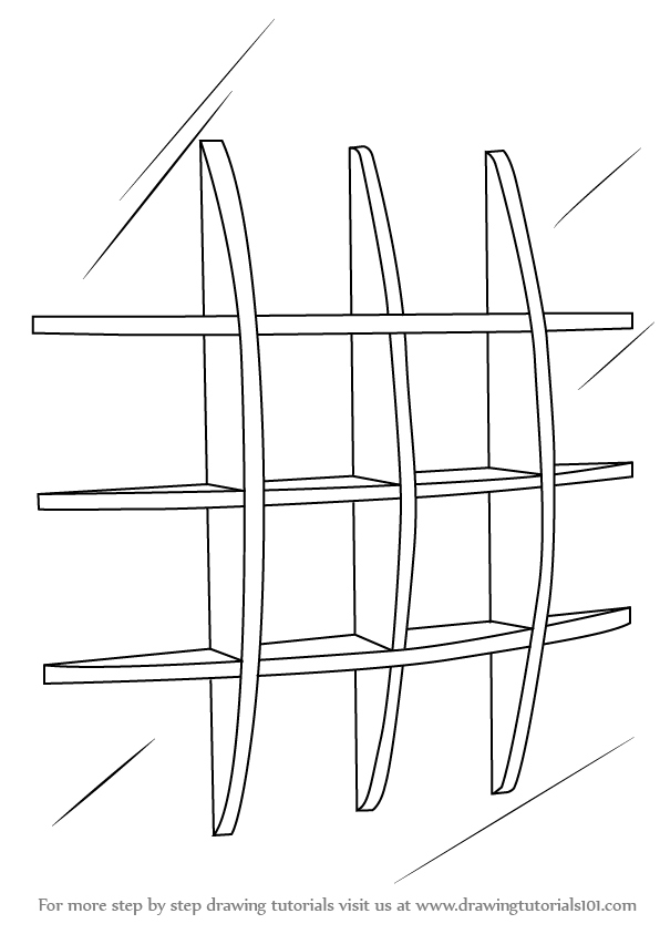 Step By Drawing Tutorial On How To Draw Wall Shelves