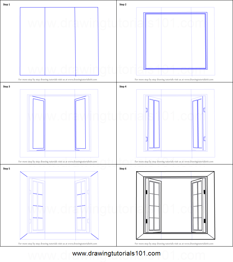 How To Draw Wooden Windows Printable Step By Step Drawing