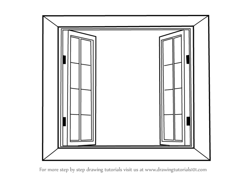 Learn how to draw wooden windows furniture step by step for Window design sketch