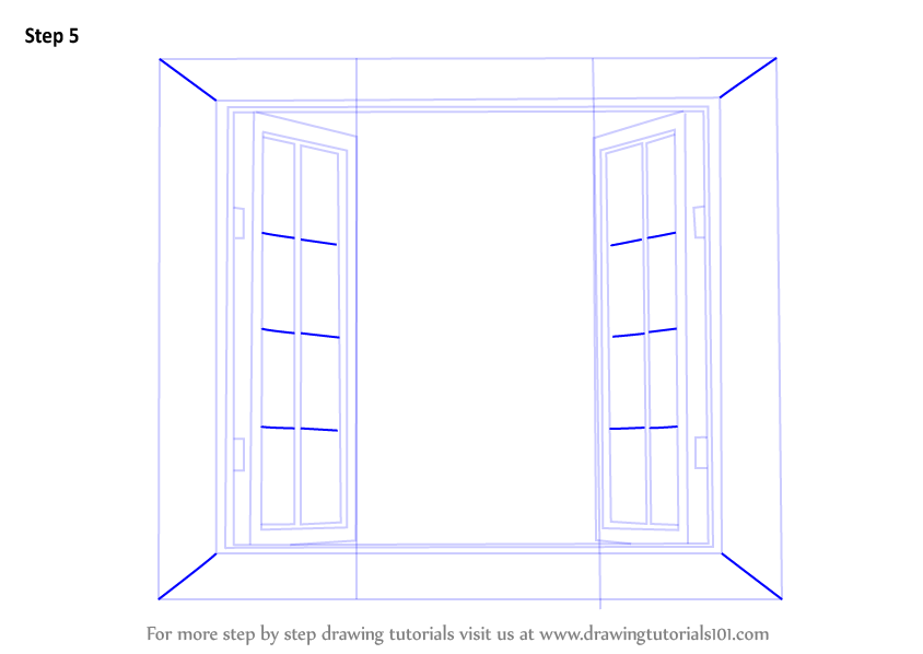 Learn How to Draw Wooden Windows (Furniture) Step by Step : Drawing ...