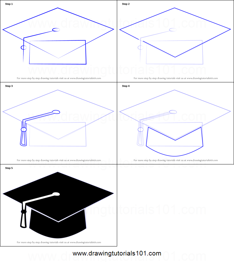graphic relating to Printable Graduation Cap referred to as How towards Attract a Commencement Cap printable move through phase drawing