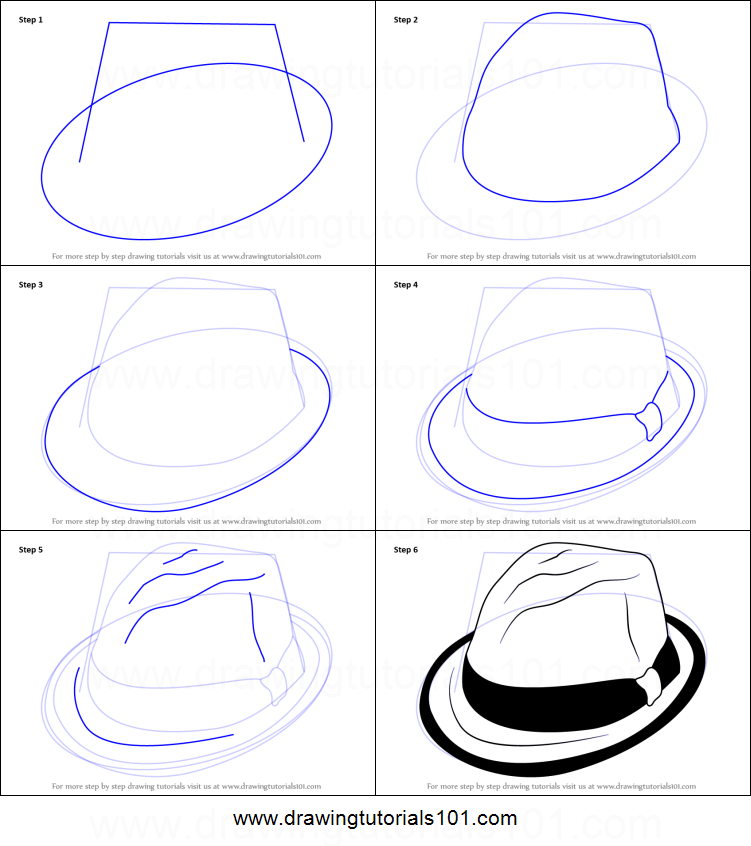 How To Draw A Hat With Ribbon Printable Step By Step Drawing Sheet