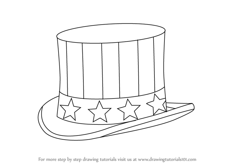 Learn How To Draw Uncle Sams Hat Hats Step By Drawing Tutorials