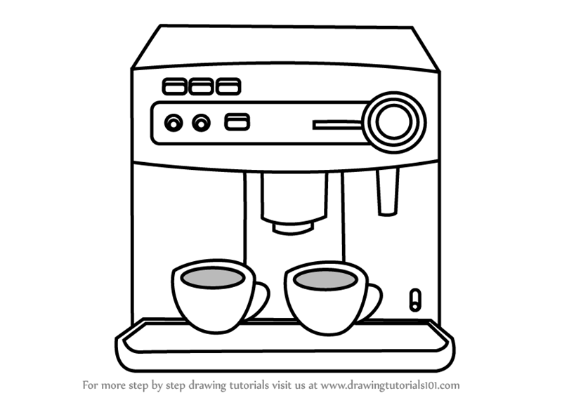 Learn How to Draw a Coffee Maker (Home Appliances) Step by Step ...
